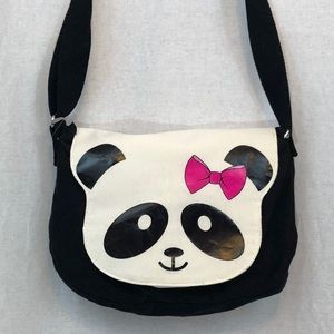 BLACK WHITE PINK PANDA BAG BOW